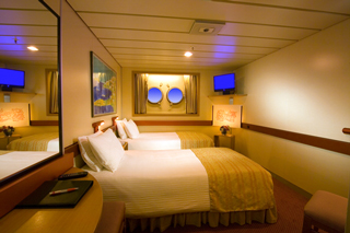 Inside cabin on Carnival Ecstasy