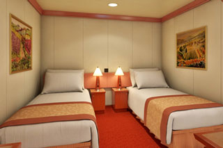 Inside cabin on Carnival Glory