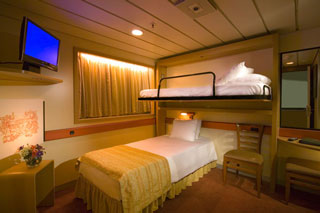 Inside cabin on Carnival Paradise